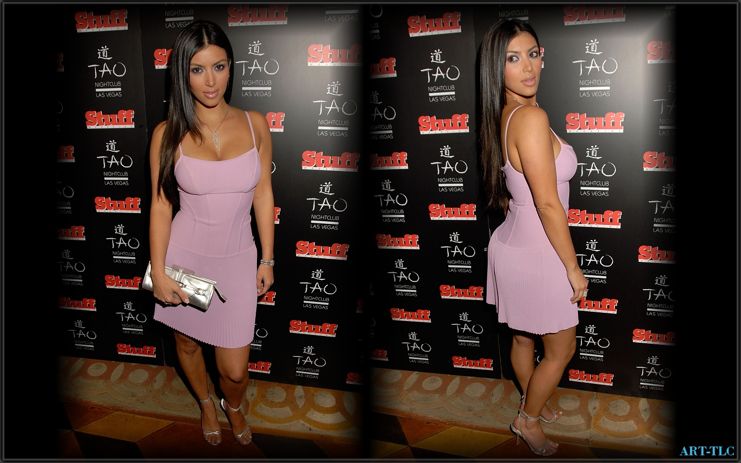 Kim Kardashian Pink Dress Wallpaper