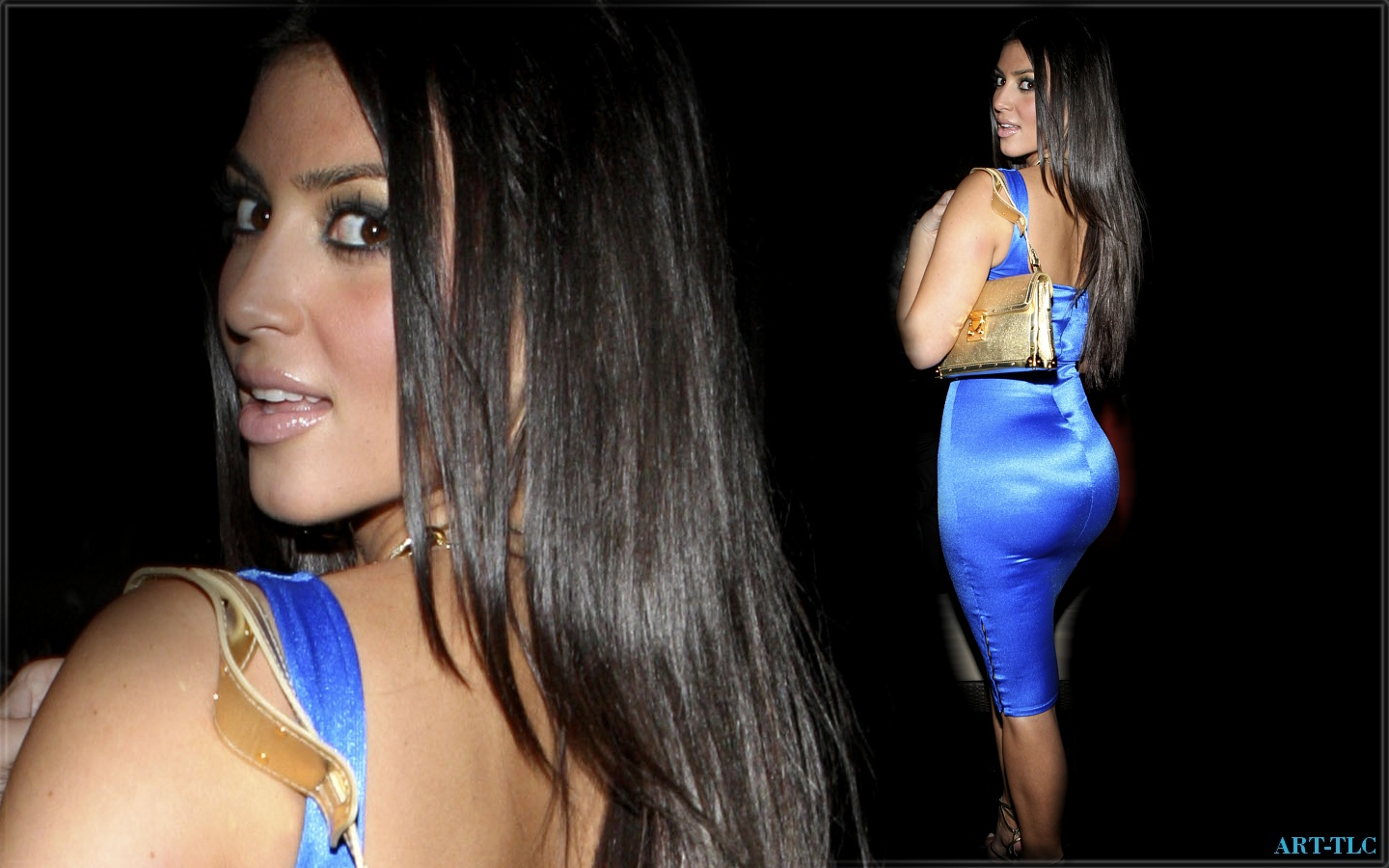 Kim Kardashian Blue Dress Wallpaper